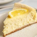 Italian Lemon Cheesecake slide on white plates