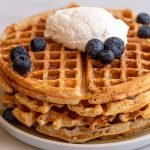 sourdough waffles with Greek yogurt and blueberries