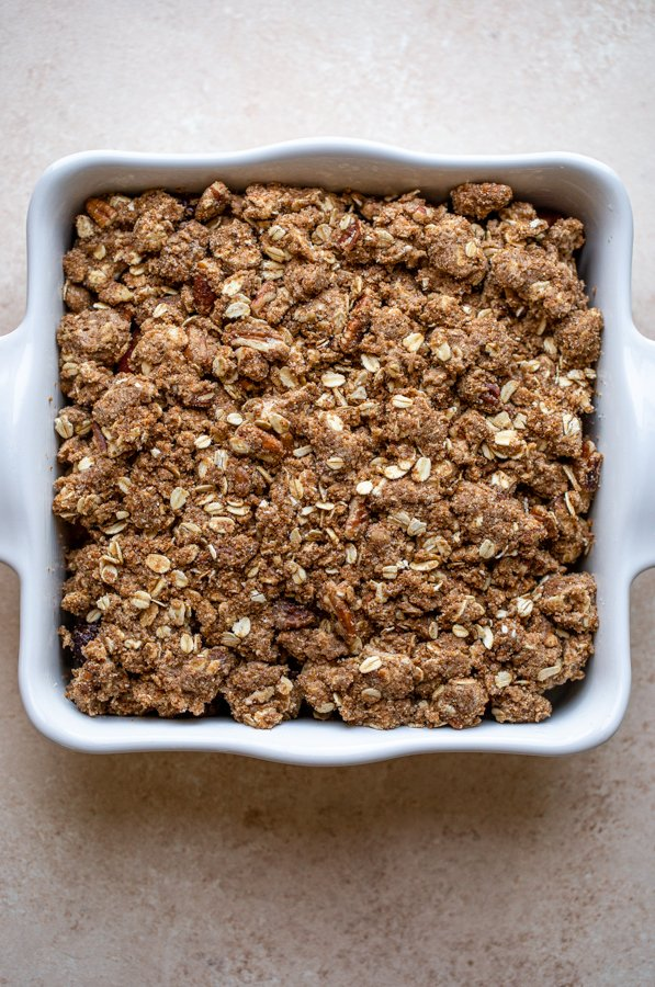 unbaked crisp in a square dish