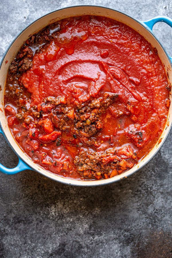 meat sauce ingredients in a pot