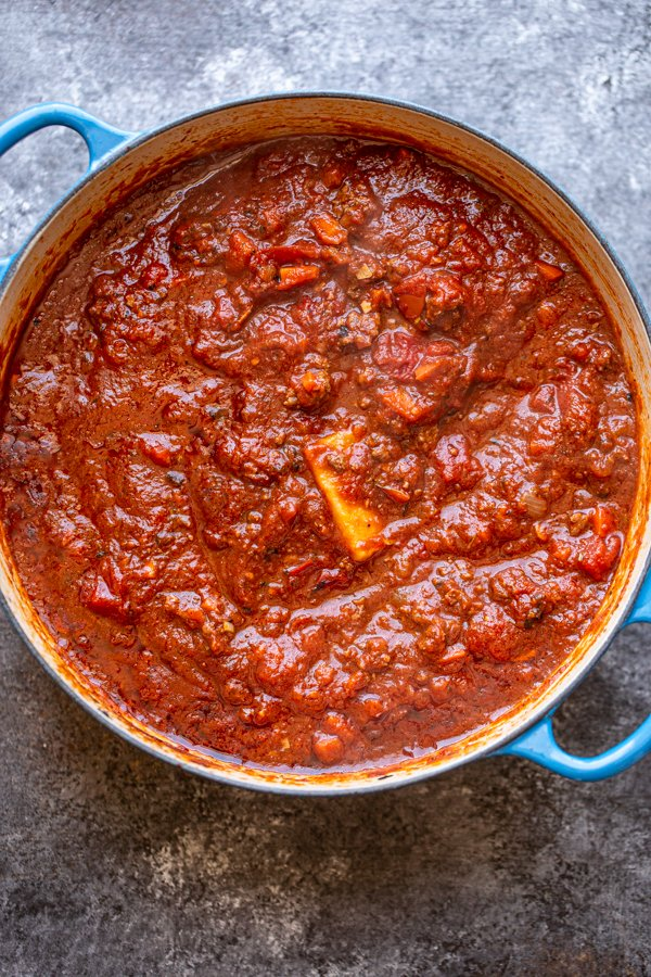 meat sauce in a pot