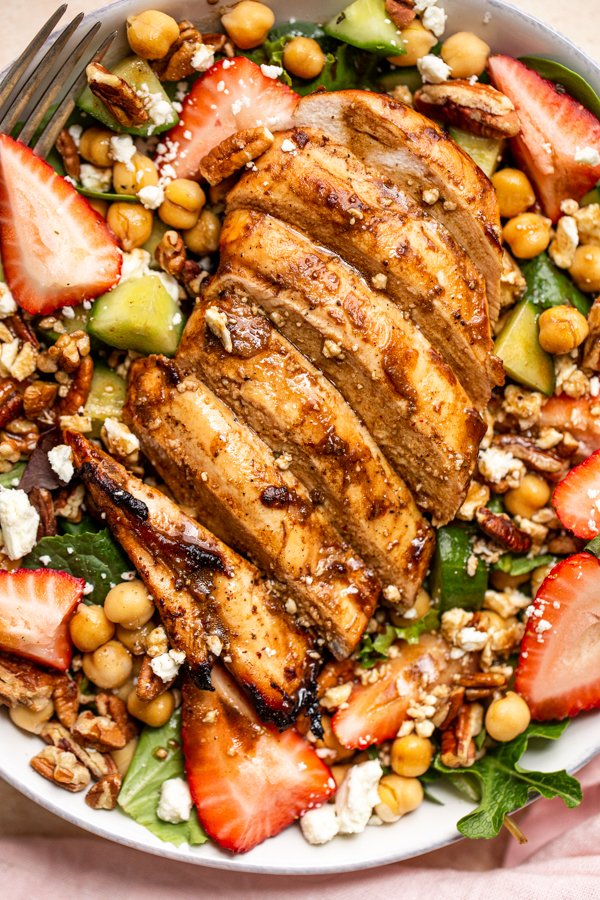 grilled chicken on a summer salad
