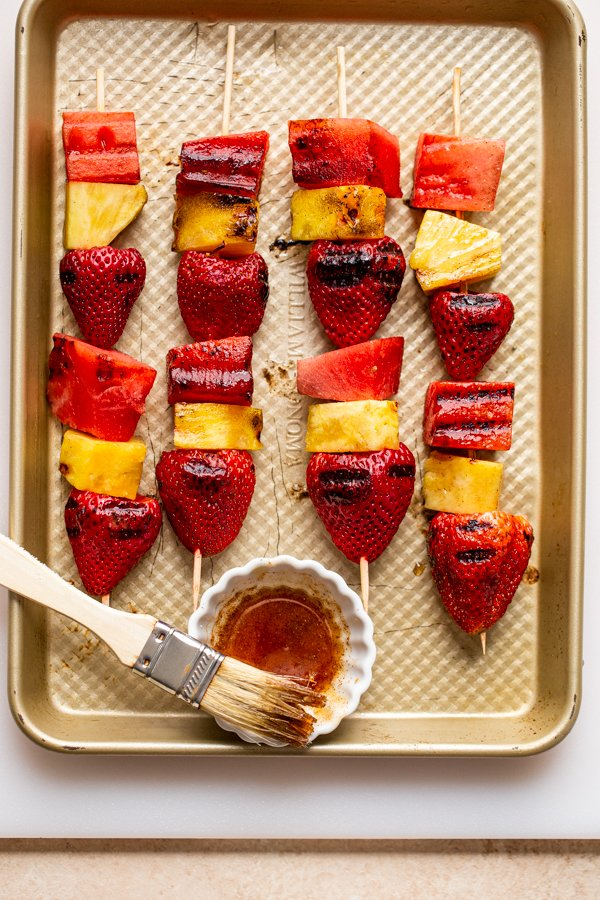 fruit skewers off the grill