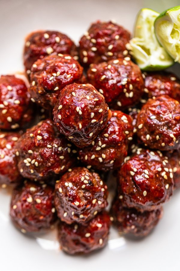 meatballs with sesame seeds and a glaze
