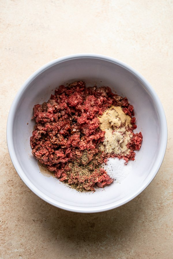 ground deer meat with seasoning in a white bowl