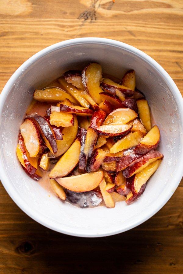 peach pie filling in a bowl