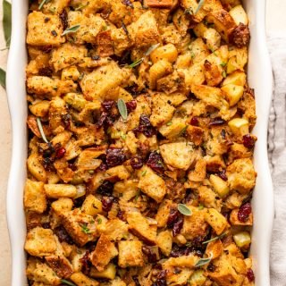 Sourdough Stuffing with Cranberries and Apples