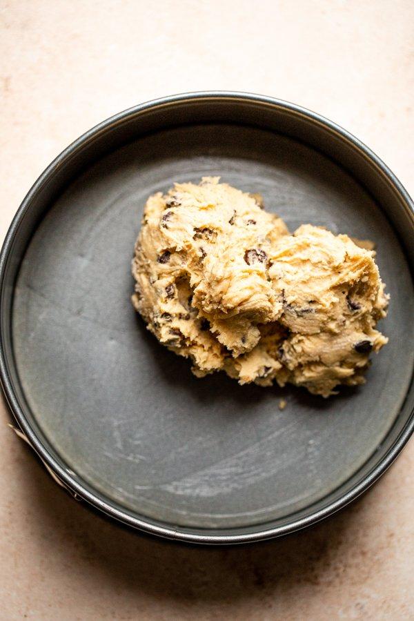 cookie dough in a springform pan