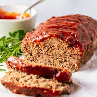 Sliced venison meatloaf with glaze